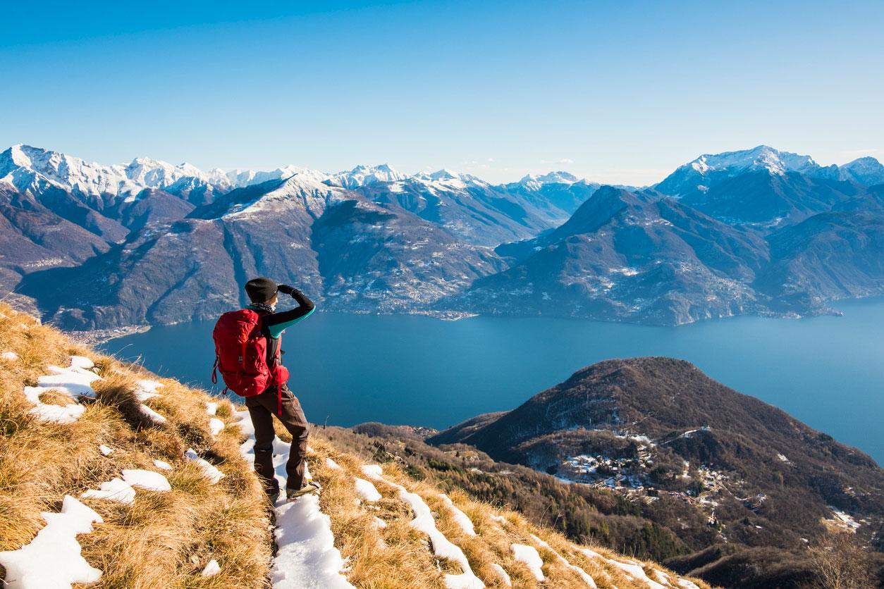winterwandern, natur, berge, see